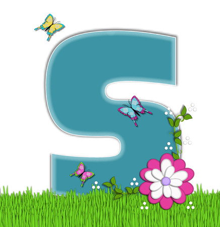 flutter: The letter S, in the alphabet set Happy Springtime, is turquoise.  Letter is sitting on bright green grass and is decorated with flower and vines.  Butterflies flutter around letter.