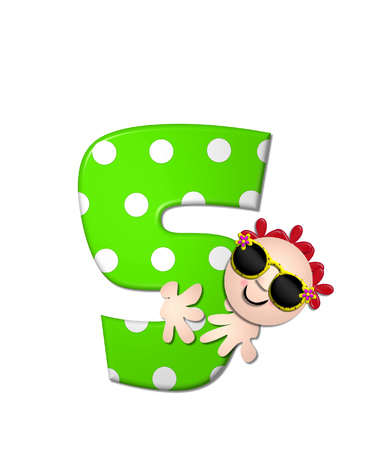 The letter S, in the alphabet set Bahama Sunny, is vivid green with large white polka dots.  Beach dude peeks his head in and around letter holding it with his hands. Stock Photo