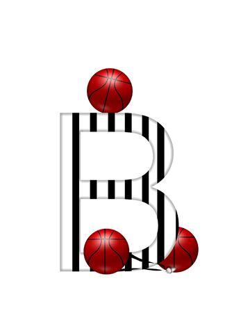The letter B,in the alphabet set Referee, is black and white striped.  A whistle, on a black ribbon, and basketballs decorate each letter. Stock Photo