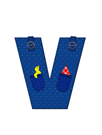 handkerchief: The letter V, in the alphabet set Farmer Brown, is denim with straps and pockets.  Checkered handkerchief peeks out of pocket. Stock Photo