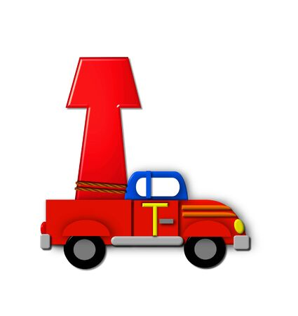 The letter T, in the alphabet set Alphabet On the Go is tied with rope to transportation vehicles in different colors, shapes and sizes.  Letter is 3D, red and ready to GO!