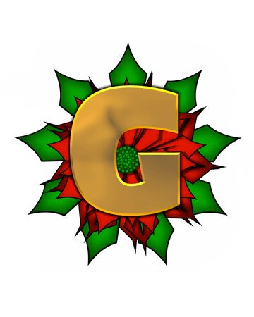 scrap gold: The letter G, in the alphabet set Christmas Poinsettia is shiny gold metallic.  Letter sits on a large red, poinsettia. Stock Photo