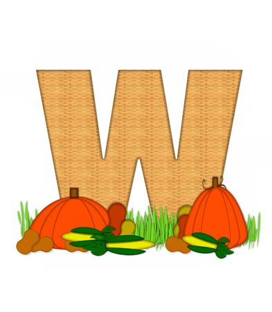bounty: The letter W, in the alphabet set Blessed Bounty, is filled with wicker texture.  Letter sits in grassy field surrounded by Fall vegetables.