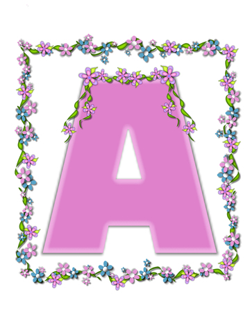 drape: The letter A, in the alphabet set Daisy Fair Pink is a soft pastel shade of lilac.  Garland of ivy and flowers covers outline of letter and smaller chain of flowers drape letter. Stock Photo