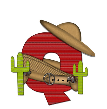 The letter Q, in the alphabet set Bandido, is a red lined, tight woven pattern.  Letter is wearing a gun belt and blanket with a somberro on top.  Two cacti sit at each side.