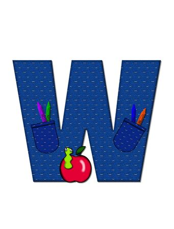 tilted: The letter W, in the alphabet set School Days, in dressed in denim material with tilted pocket filled with pencils or crayons.  An apple with a worm sometimes decorates base of letters. Stock Photo