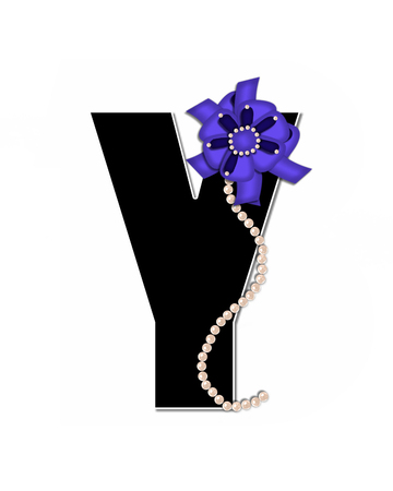 lay: The letter Y, in the alphabet set Ribbon Trimmed, is black, outlined with white.  Letter is decorated with colorful bow trimmed with pearls.  Strands of pearls fall from bow and lay at bottom of letter.