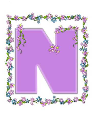 The letter N, in the alphabet set