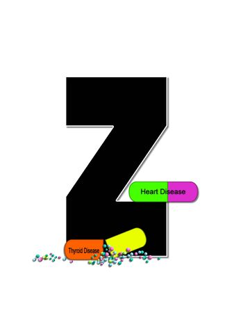 The letter Z, in the alphabet set Wellness Check, is black and outlined with white.  RX capsules decorate letter with health diseases on each capsule. 版權商用圖片