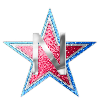 metalic: The letter N, in the alphabet set All Star is silver metalic.  Three stars of red, white and blue form background.