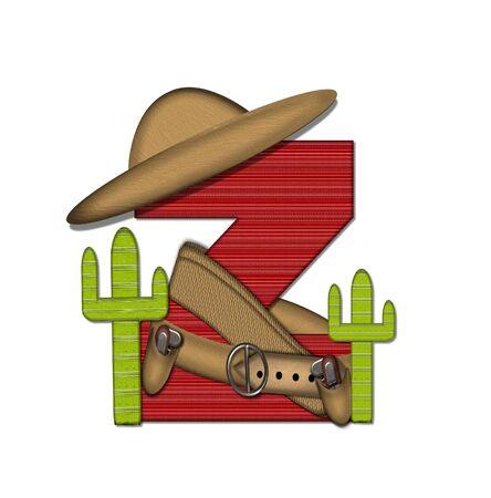 """문자 Z는 알파벳 세트 """"Bandido""""에서 빨간색으로 줄 지어 꽉 짜인 패턴입니다. 편지 위에 총 벨트와 담요를 착용하고있다. 두 선인장 각 측면에 앉 스톡 콘텐츠"""