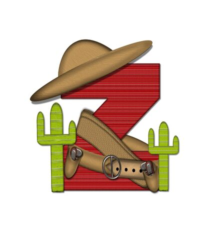 theif: The letter Z, in the alphabet set Bandido, is a red lined, tight woven pattern.  Letter is wearing a gun belt and blanket with a somberro on top.  Two cacti sit at each side. Stock Photo