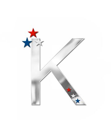 coordinate: The letter K, in the alphabet set Plain Patriotism is silver metalic.  Three stars decorate letter with red, white and blue.  Letters coordinate with Alphabet Patriotism.