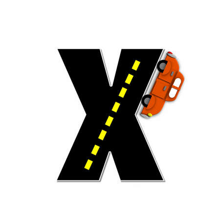 motorized: The letter X, in the alphabet set Transportation by Road, is black with yellow dividing line representing a black top road.  Colorful, motorized vehicle navigates outside of letter.