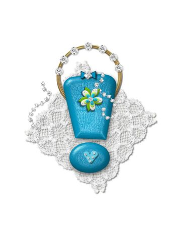 point exclamation: Exclamation point, in the alphabet set Bling Bag, depicts aqua letter as a blinged out purse with gold handle.  Letter has lace, diamonds and flowers.  Background framing letter is a lace handkerchief.