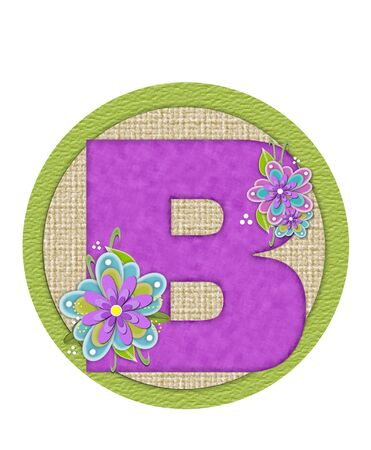 The letter B, in the alphabet set Backyard Bouquet, is lilac and decorated with layered flowers in blue and lilac.  Background circle has woven texture and outlined in green.
