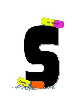 The letter S, in the alphabet set Wellness Check, is black and outlined with white.  RX capsules decorate letter with health diseases on each capsule.
