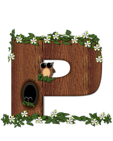 The letter P, in the alphabet set Log Home is filled with wod texture.  Flower bloom on vines hanging on letter.  One owl hides in knothole and the other outside the stump home.