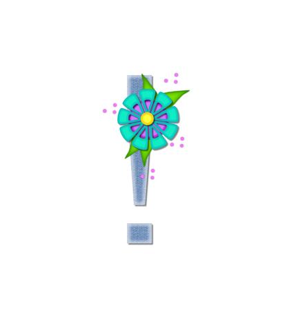 """point exclamation: Exclamation Point, dans l'ensemble de l'alphabet """"Denim Dandy,"""" est rempli de denim bleu clair. Lettre est décorée avec des fleurs de couleur vive à pois."""