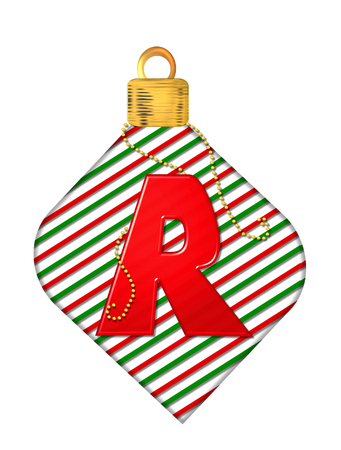 The letter R, in the alphabet set Pinstripe Ornament, is red.  Letter sits on red and green striped Christmas ornament. Stock Photo