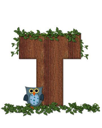 The letter T, in the alphabet set Deep Woods Owl is filled with wod texture and has vines growing all over it.  Owl sits on log-style letter.
