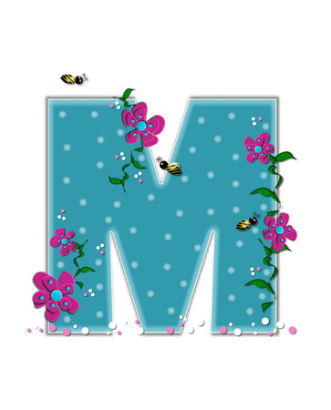 buzz: The letter M, in the alphabet set Garden Buzz, is aqua.  Each letter is decorated with soft polka dots, flowers and buzzing bees.  Base of letter is covered in pink and white confetti.