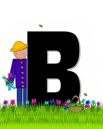 The letter B, in the alphabet set Children Tulip Patch is black outlined with white.  Children hold tulip bouquet and stand in colorful tulip patch.