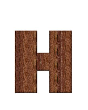 wood grain: The letter H, in the alphabet set Wood Grain resembles paneling or finished wood grain. Stock Photo
