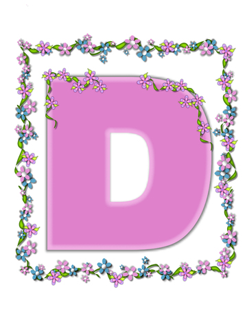 smaller: The letter D, in the alphabet set Daisy Fair Pink is a soft pastel shade of lilac.  Garland of ivy and flowers covers outline of letter and smaller chain of flowers drape letter. Stock Photo