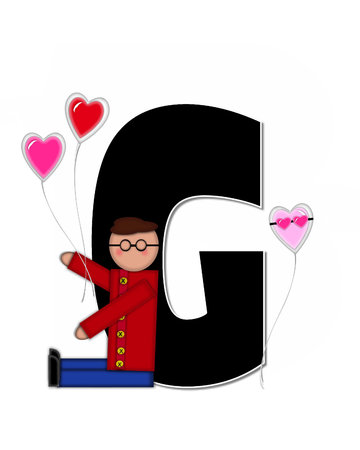 g string: The letter G, in the alphabet set Alphabet Children Valentines is black with white outline.  Children holding valentines shaped ballons decorate letter.