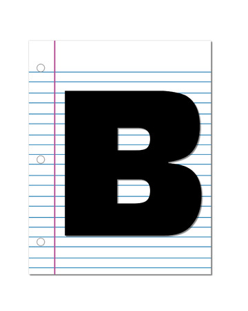 coordinates: The letter B, in the alphabet set Start of School, is black.  Letter is setting on a blank piece of notebook paper.  This set coordinates with Alphabt Start of School Two which has children and pencils.