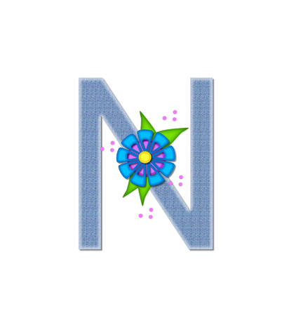dandy: The letter N, in the alphabet set Denim Dandy, is filled with light blue denim.  Letter is decorated with bright colored flower with polka dots.