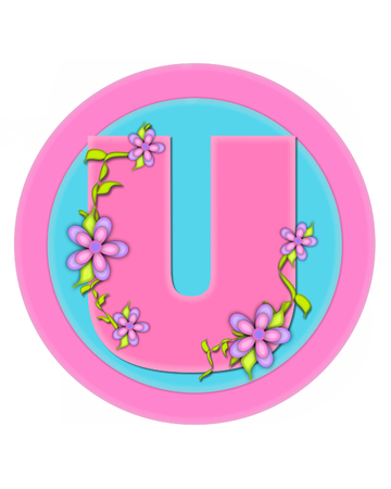 The letter U, in the alphabet set Bouquet in Pastels, is soft pink.  Letter is decorated with flowers and sits on circles in aqua and pink. Stock Photo
