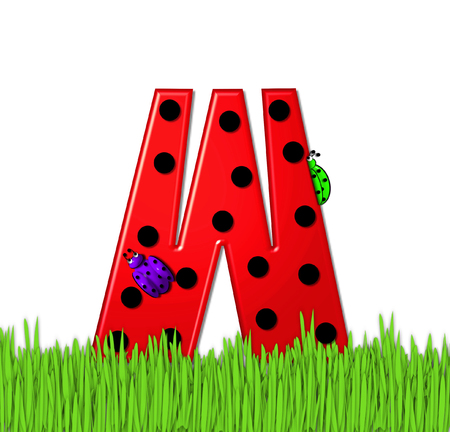 The red letter W, in the alphabet set Lady Bug Red, has large black polka dots and is decorated with 3D ladybugs.  Letter is nestled in tall, garden grass.