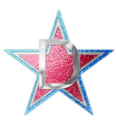 The letter D, in the alphabet set All Star is silver metalic.  Three stars of red, white and blue form background.