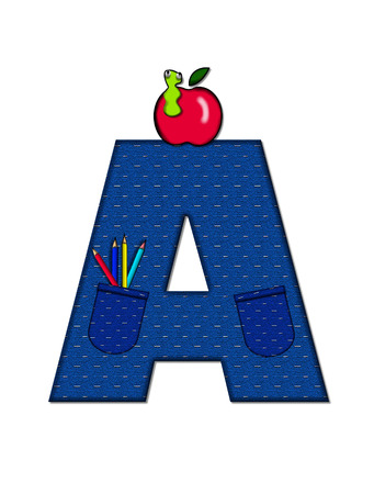 The letter A, in the alphabet set School Days, in dressed in denim material with tilted pocket filled with pencils or crayons.  An apple with a worm sometimes decorates base of letters. Stock Photo