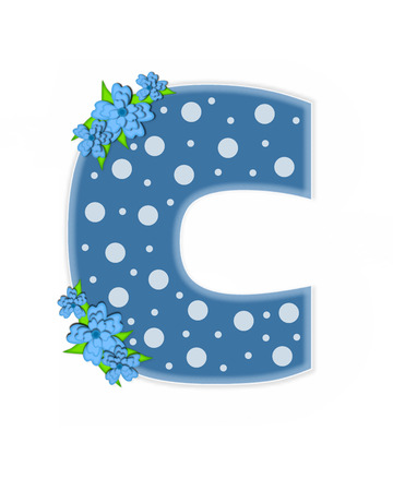 The letter C, in the alphabet set Dusty Blue Dots, is Blue.  Letter is decorated with blue flowers and is covered in large and small polka dots. Stock Photo