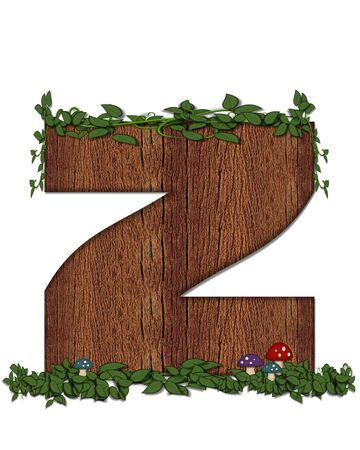 The letter Z, in the alphabet set Log is filled with wod texture.  Vines and colorful mushrooms grow around letter.  Some letters have knot holes with peeking eyes. Stock Photo