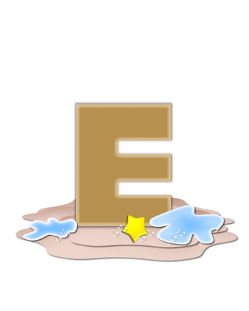 tan: The letter E, in the alphabet set Ocean Swimming is tan.  Letter sits on beach and is decorated with water, bubbles and yellow starfish.