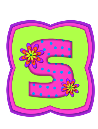 hot pink: The letter S, in the alphabet set Daisy Daze, is colored in vivid pink with teal polka dots.  It is decorated with four layered daisies.  All sit on a pillow of neon green, hot pink and purple.