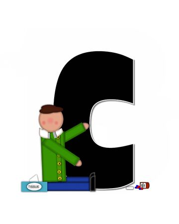 The letter C, in the alphabet set Children Sickness is black and trimmed with white.  Child is wearing a scarf, and treating an illness or sickness with tissues and medicine. Banco de Imagens