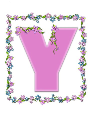 drape: The letter Y, in the alphabet set Daisy Fair Pink is a soft pastel shade of lilac.  Garland of ivy and flowers covers outline of letter and smaller chain of flowers drape letter. Stock Photo