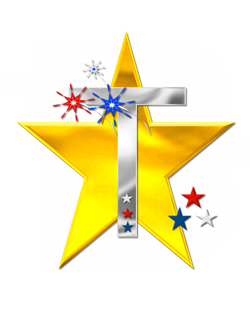 metalic: The letter T, in the alphabet set Patriotism is silver metalic.  Fireworks and stars decorate letter with red, white and blue.  Golden star serves as background.