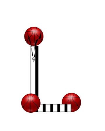 The letter L, in the alphabet set Referee, is black and white striped.  A whistle, on a black ribbon, and basketballs decorate each letter.