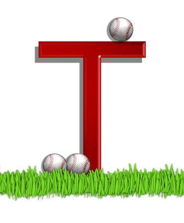 outfield: The letter T, in the alphabet set Baseball, is red.  Three baseballs decorate 3D letter.  All sit in a field of green grass. Stock Photo