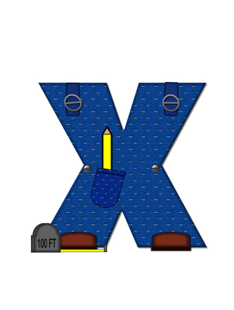 The letter X, in the alphabet set Carpenter Tools, is denim with tool pocket.  Brown, construction boots sit at base of letter.  Various tools decorate letter.
