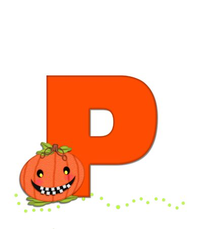 toothy: The letter P, in the alphabet set Pumpkin Head, is bright orange. Letter is decorated with smiling, toothy pumpkins and green polka dots.