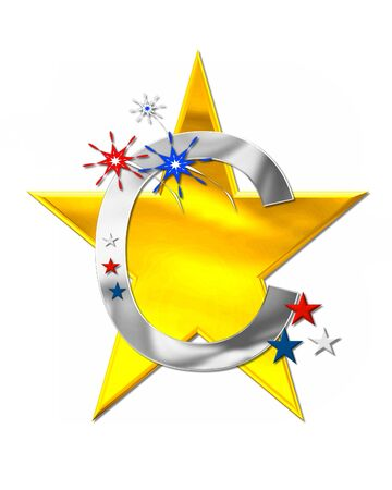 The letter C, in the alphabet set Patriotism is silver metalic.  Fireworks and stars decorate letter with red, white and blue.  Golden star serves as background. Stock Photo