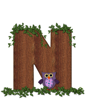 The letter N, in the alphabet set Deep Woods Owl is filled with wod texture and has vines growing all over it.  Owl sits on log-style letter.