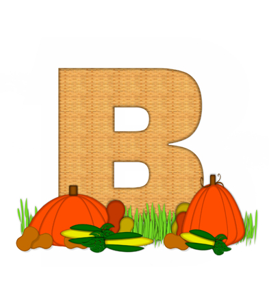 bounty: The letter B, in the alphabet set Blessed Bounty, is filled with wicker texture.  Letter sits in grassy field surrounded by Fall vegetables.